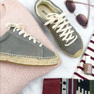 Soludos Gray Suede Espadrille Sneakers